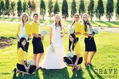 Love the fresh bridesmaids' look. Gorgeous yellow cardi, ruffly white blouse, navy skirt & heels. Mmmm. by mandy
