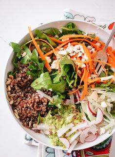 Spring Carrot, Radish and Quinoa Salad with Herbed Avocado.