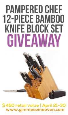 Pampered Chef 12-Piece Knife Block Giveaway | gimmmesomeoven.com #giveaway