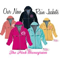 """Monogrammed Rain Jackets"" by thepinkmonogram on Polyvore"