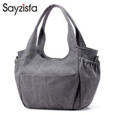 Sayzisfa Women Canvas Tote Bag Female Handbags Lady Large Capacity Shoulder Bags Simple Fashion Girls Sac Main Bolsos Mujer T253