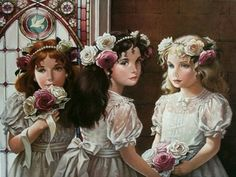 So Adorable!!!  Pati Bannister Oil Painting #victorian #art #wedding #bridesmaid
