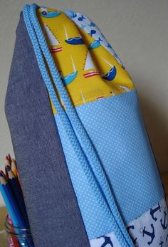 Patchwork nautical, seaside themed children drawstring backpack cotton fabric and canvas