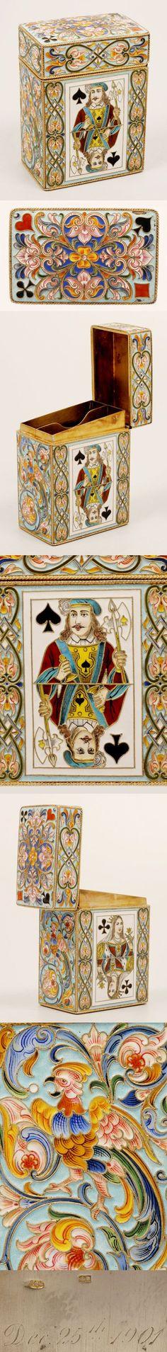 Эмалевый футляр для игральных карт в русском стиле.