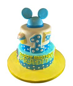 Baby Blue Mickey Theme custom cake