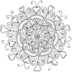 """This is another free mandala hand-drawn for you by amazing Angela F. She said this mandala reminds her of the phrase """"love in in the air"""". So, what colors do you think work best to portray that new-relationship-energy that makes for butterfly stomachs and heart leaps?"""