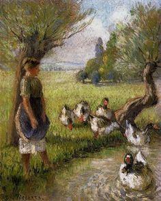 """Goose Girl""  --  Circa 1890  --  Camille Pissarro  --  French  --  Oil on canvas  --  Private Collection"