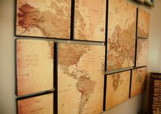 DIY World Map Wall Art; helps you think of perspective, you're just a little person in this whole world of people.