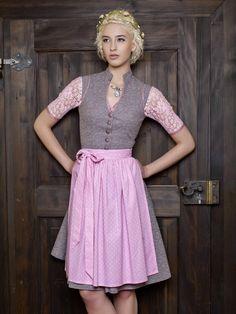 Goldstich Vintage Baumwolldirndl taupe rosa Model
