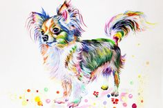 """Chihuahua Art Print Dog Poster Watercolor Painting Dog Painting Dog Watercolor Chihuahua Illustration Animal Art Chihuahua wall decor NO 33   FREE SHIPPING  Buy two Get one FREE! Buy two print and get one free(of the same size). Send me the links of the 3 posters that you have chosen in the """"notes to seller"""" section You will receive the three prints that you have selected for the price of 2. FREE SHIPPING  This is art print of my original watercolor illustration.   A little bit about my…"""