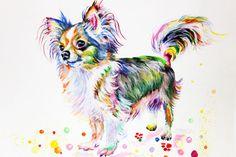Chihuahua Canvas Print Art Print hond Poster aquarel door ElenTsArt