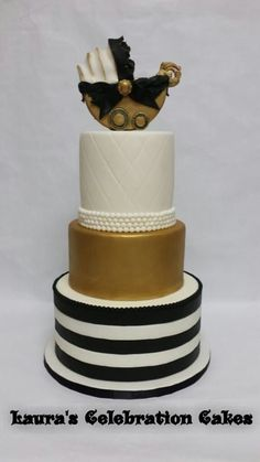 Gold, Black and White Baby Shower Cake with Baby Carriage