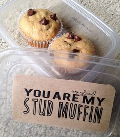 So glad that you are my stud muffin | DIY Boyfriend Gifts | Food Puns | Banana Chocolate Chip Muffins | DIY Gifts | Puns #boyfriendgift