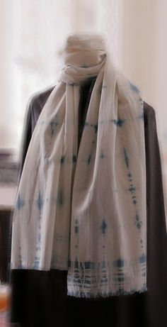 shibori organic cotton scarf natural woad by dyeing2meetU on Etsy, €45.00