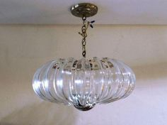 Ribbed Lucite Chandelier on Chairish.com