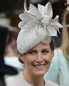 The Countess of Wessex topped off her taupe suit with a stunning bow-trimmed Jane Taylor hat. Millinery Hats, Fascinator Hats, Lady Louise Windsor, Ascot Hats, Cocktail Hat, Fancy Hats, Wedding Hats, Love Hat, Dress Hats