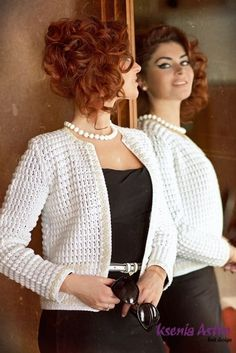 Crochet beautiful and openwork jacket. Free patterns for crochet jacket Gilet Crochet, Crochet Coat, Crochet Cardigan Pattern, Crochet Jacket, Easy Crochet Patterns, Crochet Clothes, Free Crochet, Diy Crafts Crochet, Crochet Fashion