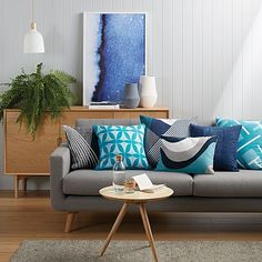 Insist on a fresh look for your space with the bold blues of the Beams Cushion, Indigo from Rapee. Living Room Grey, Living Room Decor, Living Rooms, Interior Decorating, Interior Design, Interior Ideas, Scandinavian Furniture, Room Ideas Bedroom, Fashion Room