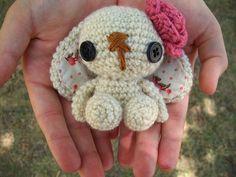 Lulu the Amigurumi Bunny - Ivory by WyandotteWears on Etsy, $7.00 pink, rabbit, flower
