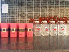 Santa juice boxes and his reindeer water bottles.