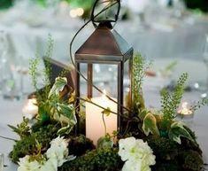 Non Floral Centerpieces, Winter Floral Arrangements, Lantern Centerpiece Wedding, Wedding Lanterns, Wedding Table Centerpieces, Flower Arrangements, Wedding Decorations, Centerpiece Ideas, Centerpiece Flowers