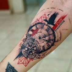 Grab cool opinions on your style of trash polka tattoos from your friends or dear one. Here are the best trash polka tattoo designs for your reference. Trash Polka Tattoos, Tattoo Trash, Nautical Compass Tattoo, Compass Tattoo Design, Clock Tattoo Design, Cool Forearm Tattoos, Forearm Tattoo Design, Tattoo Arm, Tattoo Clock