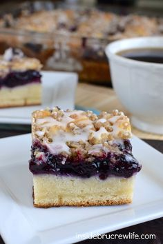 Blueberry, cheesecake, and crumble make this a breakfast coffee cake that everyone will enjoy!