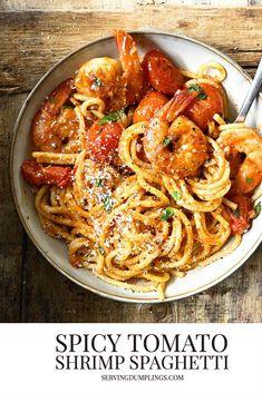 Spicy Shrimp Pasta, Shrimp Spaghetti, Seafood Pasta, Shrimp Pasta Recipes, Seafood Recipes, Chicken Recipes, Best Pasta Recipes, Cooking Recipes, Mediterranean Meals