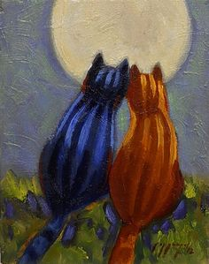 NEW LISTING Tabby Cat lovers admire full moon by PoppengaArtStudio, $35.00