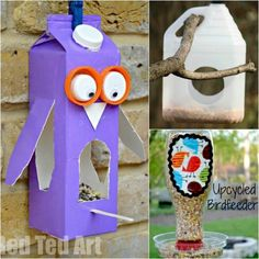 3 bird feeders to make with recycled materials #homemadebirdhouses