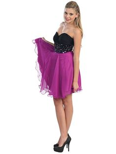 A-line Sweetheart Chiffon Short/Mini Sleeveless Sequins Formal Dresses at Msdressy.com