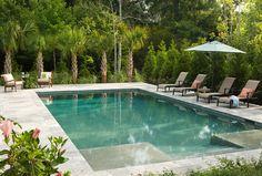 Pool Ideas. The pool dimensions is 20x40. Gunite Pool. Waterline Pool Tile is sonoma tile makers - vikhari. The material used inside of the pool is Tahoe blue plaster. Material used around the pool is grey travertine. #pool