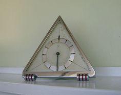 HIGH ART DECO CHROME DESK CLOCK - Hamburg American Co. Spring Wind - Rare.