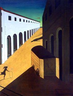 Mystery and Melancholy of a Street (1914). Giorgio de Chirico 90.9 x 59.1 cm huile sur toile: