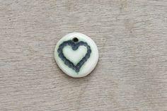 Ceramic pendant, glazed pendant, abstract pendant, heart pendant, ceramic disc by BlackRabbitCeramics on Etsy Porcelain Clay, White Porcelain, Ceramic Pendant, Pendants, Beads, Abstract, Handmade, Stuff To Buy, Etsy