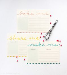 Printable recipe cards from Design Eat Repeat - How About Orange