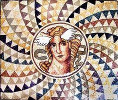 Greek god marble mosaic.