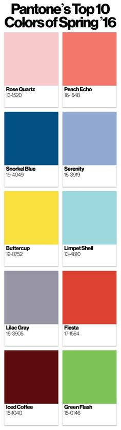 The top 10 colors for spring 2016, according to Pantone - get info on them here #2016trends