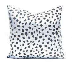 Dalmatian Pillow Cover - Black Pillow Cover - Black and White - Black Bedding - Black Pillow Shams - Sofa Pillows - Black Spots by CompanyTwentySix