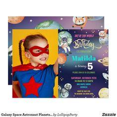 Galaxy Space Astronaut Planets Girl Birthday Photo Invitation