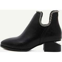 Black PU Point Toe Ankle Chain Boots (1.320 CZK) ❤ liked on Polyvore featuring shoes, boots, ankle booties, black, pointy toe booties, chunky black boots, pointy-toe boots, black mid heel boots and mid heel booties
