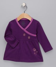 #zulily #fall Take a look at this Purple Flower Organic Long-Sleeve Wrap Dress - Infant by Origany on #zulily today!