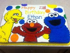 Sesame Street cake with Big Bird, Elmo, and Cookie Monster