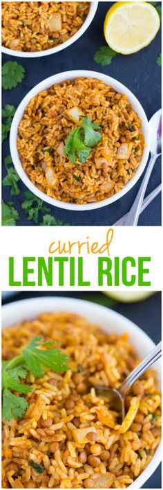 Curried Lentil Rice - Vibrant, spicy and healthy! This delicious side dish is perfect for a Meatless Monday or to serve with some chicken for a hearty meal. Healthy Rice Recipes, Lentil Recipes, Vegetarian Recipes, Cooking Recipes, Vegetarian Dish, Healthy Dinners, Yummy Recipes, Dinner Recipes, Recipes