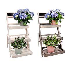 Blumenleiter Pflanzentreppe Blumenregal Blumentreppe Pflanztreppe Weiß Grau