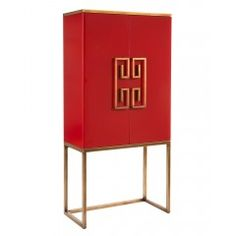 Luxe Red Dahlia Cabinet Designed by Mark McDowell exclusively for John-Richard