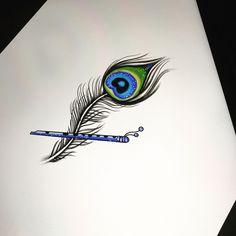 Krishna Tattoo, Krishna Drawing, Krishna Painting, Krishna Art, Lord Krishna, Hindu Tattoos, Symbol Tattoos, Body Art Tattoos, Music Tattoos