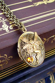 Victorian Necklace N97 Fairy on Antique by DesignsByFriston