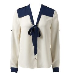 A gorgeous take on a pussy bow blouse done sailor style at Forever New.