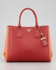 Prada Saffiano Bicolor Tote Bag, #womens #prada #saffiano #bicolour #tote #bag #handbag #purse #orange/red #leather #love #wantering